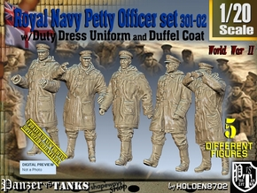 1/20 Royal Navy DC Petty OffIcer Set301-02 in White Natural Versatile Plastic