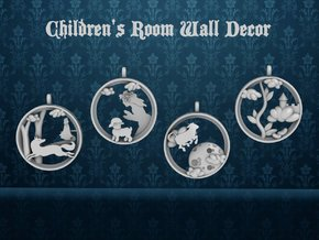 "Children's Wall Charm ""Cow Jumping Over The Moon"" in White Processed Versatile Plastic"