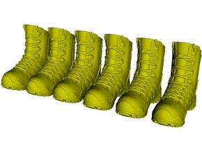 1/18 scale military boot C pairs x 3 in Smooth Fine Detail Plastic