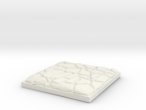 "Cobblestone 1"" Square Miniature Base Plate in White Natural Versatile Plastic"