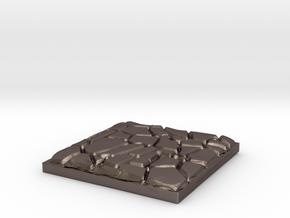 "Cobblestone 1"" Square Miniature Base Plate in Polished Bronzed-Silver Steel"