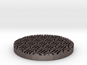 """Hex Grate 1"""" Circular Miniature Base Plate in Polished Bronzed-Silver Steel"""