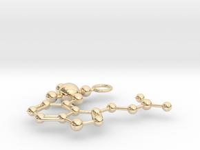 Psilocybin Molecule (large) in 14K Yellow Gold