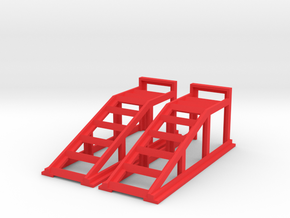 RC Garage 4WD Truck Car Ramps 1:24 Scale in Red Processed Versatile Plastic