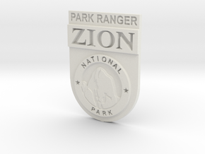 Zion Park Ranger Badge in White Natural Versatile Plastic: Small