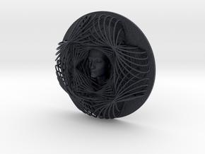 Wire Flower Curve Art + Nefertiti (001ai) in Black PA12