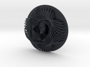 Wire Flower Curve Art + Nefertiti (001ai) in Black Professional Plastic