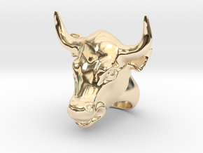 Bull ring in 14k Gold Plated Brass