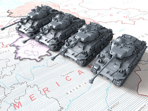 1/285 US M50 Super Sherman Tanks x4 in Smooth Fine Detail Plastic