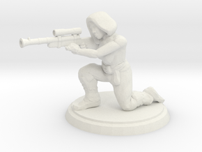 Hooded Female Sniper (28mm Scale) in White Natural Versatile Plastic