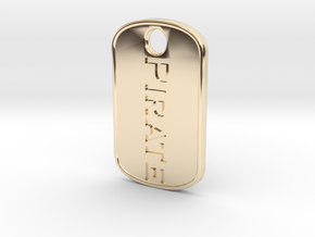 Pirate military tag [pendant] in 14k Gold Plated Brass