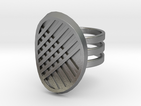 Three Stripe Ring in Natural Silver: 4 / 46.5