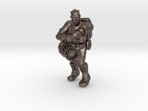 Heavy Gunner Miniature (28mm Scale) in Polished Bronzed-Silver Steel