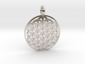 Flower of Life Sacred Geometry pendant approx 30mm in Rhodium Plated Brass: Small