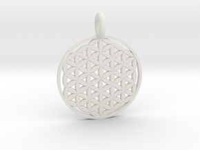 Flower of Life Sacred Geometry pendant approx 22mm in White Natural Versatile Plastic: Small