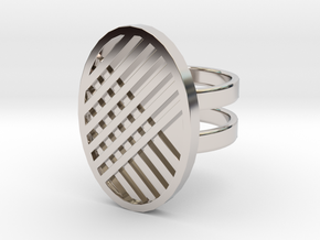 Two Stripe Ring in Rhodium Plated Brass: 4 / 46.5