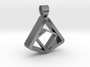 Square and Triangle illusion [pendant] in Polished Silver