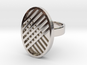 One Stripe Ring in Rhodium Plated Brass: 4 / 46.5