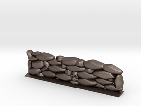 Stone Wall with Skull Head (28mm Scale Miniature) in Polished Bronzed-Silver Steel