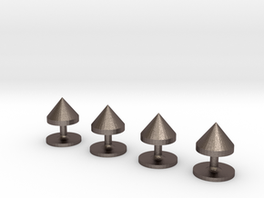 Set of 4 Cone Shirt Studs in Polished Bronzed-Silver Steel