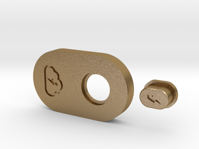 SquonkModY V1.0 12mm Steel Top Plate and Button in Polished Gold Steel