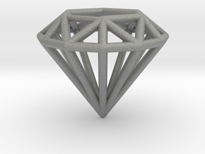 Diamond shaped wire pendant in Gray PA12