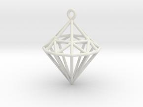 Wireframe Diamond Pendant in White Natural Versatile Plastic
