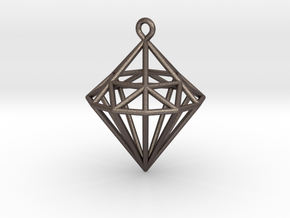 Wireframe Diamond Pendant in Polished Bronzed-Silver Steel