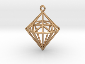 Wireframe Diamond Pendant in Natural Bronze