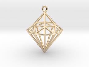 Wireframe Diamond Pendant in 14k Gold Plated Brass