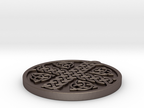 knotwork_keyfob_120 in Polished Bronzed-Silver Steel