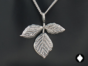 Blackberry Leaf Pendant in Antique Silver