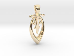 A long art deco flower [pendant] in 14k Gold Plated Brass