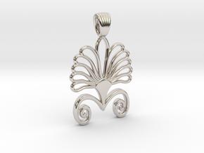 Art deco flower palm [pendant] in Platinum