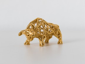 Wall Street Bull Wireframe - Stainless Steel in Polished Gold Steel: Small