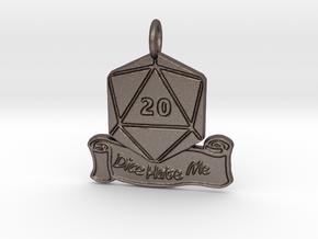 Dice Hate Me D20 - Steel in Polished Bronzed-Silver Steel