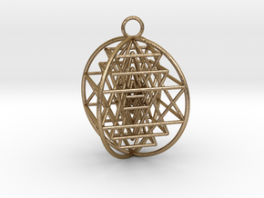 "3D Sri Yantra 4 Sided Optimal 2"" in Polished Gold Steel"