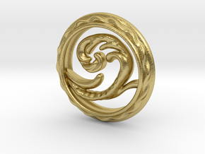 Wave Pendant in Natural Brass