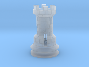 Rook Chess Piece  in Smooth Fine Detail Plastic