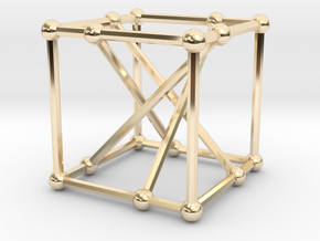 Möbius-Kantor graph in 14k Gold Plated Brass: Small