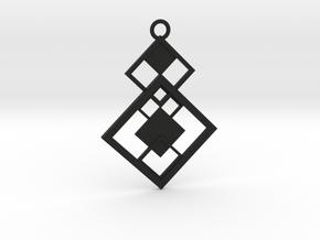 Geometrical pendant no.7 in Black Natural Versatile Plastic: Large