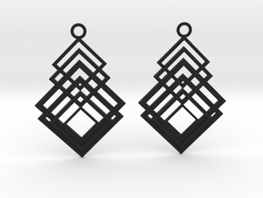 Geometrical earrings no.8 in Black Natural Versatile Plastic: Large