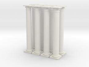 8 Doric Columns 72mm high in White Natural Versatile Plastic