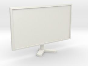 1:18 Scale Single Computer Monitor in White Natural Versatile Plastic