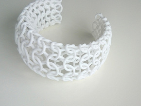 Knit Bangle in White Natural Versatile Plastic
