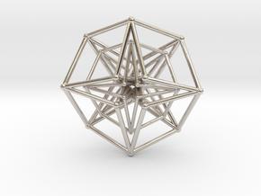 Double Hypercube pendant 30mm in Rhodium Plated Brass