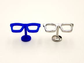 Hipster Glasses Cufflinks in Rhodium Plated Brass