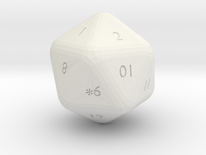 20 sided die in White Natural Versatile Plastic: Small