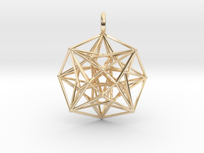 Metatron's Compass 35mm - 4D Vector Equilibrium in 14k Gold Plated Brass