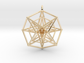 Double Hypercube pendant with ring in 14k Gold Plated Brass
